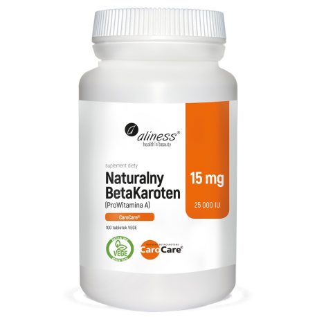 Aliness - Naturalny Beta Karoten 15mg - 100 tabs